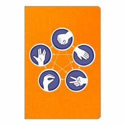 Блокнот А5 Камень, ножницы, бумага, ящерица, спок - FatLine