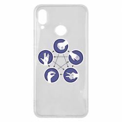 Чехол для Huawei P Smart Plus Камень, ножницы, бумага, ящерица, спок - FatLine