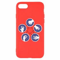 Чехол для iPhone 8 Камень, ножницы, бумага, ящерица, спок - FatLine