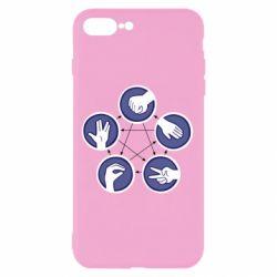 Чехол для iPhone 8 Plus Камень, ножницы, бумага, ящерица, спок - FatLine