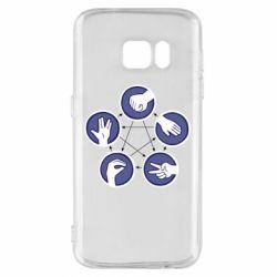 Чехол для Samsung S7 Камень, ножницы, бумага, ящерица, спок - FatLine