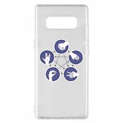 Чехол для Samsung Note 8 Камень, ножницы, бумага, ящерица, спок - FatLine