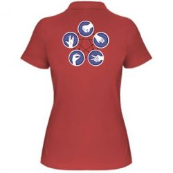 Женская футболка поло Камень, ножницы, бумага, ящерица, спок