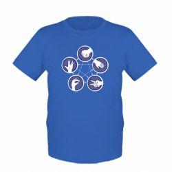 Детская футболка Камень, ножницы, бумага, ящерица, спок - FatLine