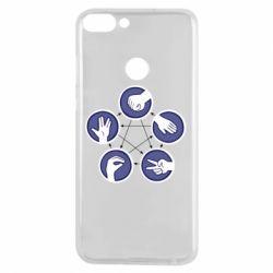 Чехол для Huawei P Smart Камень, ножницы, бумага, ящерица, спок - FatLine