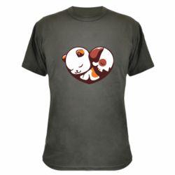 Камуфляжна футболка Сердечко. Котик и собачка