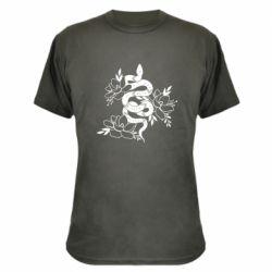 Камуфляжна футболка Snake with flowers