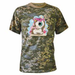Камуфляжна футболка Unicorn with flowers