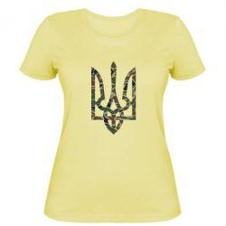 Женская футболка Камуфляжный герб Украины - FatLine