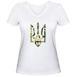 Женская футболка с V-образным вырезом Камуфляжный герб Украины - FatLine