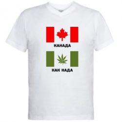 Мужская футболка  с V-образным вырезом Канада Как надо - FatLine