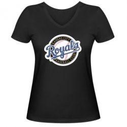 Женская футболка с V-образным вырезом Kansas City Royals - FatLine