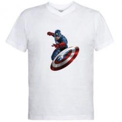 Мужская футболка  с V-образным вырезом Капитан Америка - FatLine
