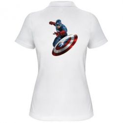 Женская футболка поло Капитан Америка - FatLine