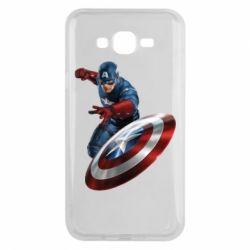 Чехол для Samsung J7 2015 Капитан Америка