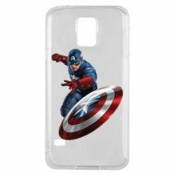 Чехол для Samsung S5 Капитан Америка