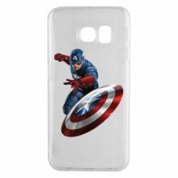 Чехол для Samsung S6 EDGE Капитан Америка