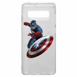 Чехол для Samsung S10+ Капитан Америка