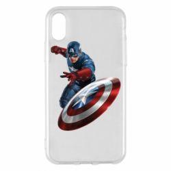 Чехол для iPhone X/Xs Капитан Америка