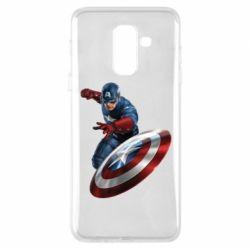 Чехол для Samsung A6+ 2018 Капитан Америка