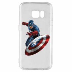 Чехол для Samsung S7 Капитан Америка