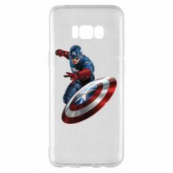Чехол для Samsung S8+ Капитан Америка