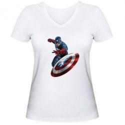 Женская футболка с V-образным вырезом Капитан Америка - FatLine