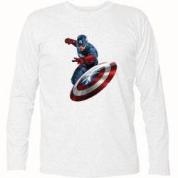 Футболка с длинным рукавом Капитан Америка - FatLine