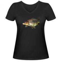 Жіноча футболка з V-подібним вирізом Карасик