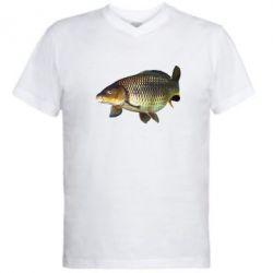 Мужская футболка  с V-образным вырезом Карасик