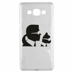 Чехол для Samsung A5 2015 Karl and the cat with glasses