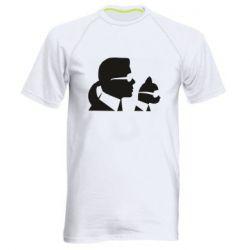 Чоловіча спортивна футболка Karl and the cat with glasses