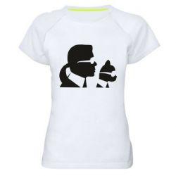 Жіноча спортивна футболка Karl and the cat with glasses