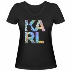 Жіноча футболка з V-подібним вирізом Karl fashion designer