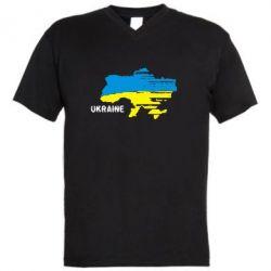 Мужская футболка  с V-образным вырезом Карта України з написом Ukraine - FatLine
