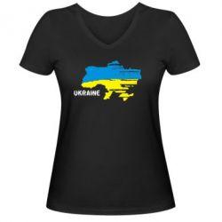 Женская футболка с V-образным вырезом Карта України з написом Ukraine - FatLine