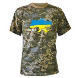 Камуфляжная футболка Карта України з написом Ukraine - FatLine