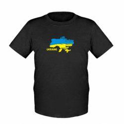 Детская футболка Карта України з написом Ukraine - FatLine
