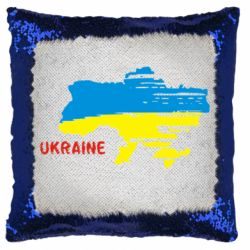 Подушка-хамелеон Карта України з написом Ukraine