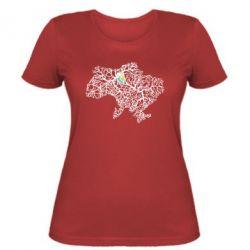 Женская футболка Карта України з серцем - FatLine