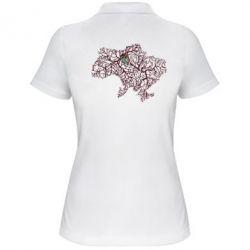 Женская футболка поло Карта України з серцем - FatLine