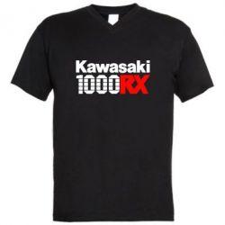 Мужская футболка  с V-образным вырезом Kawasaki 1000RX - FatLine