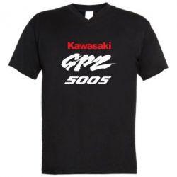 Мужская футболка  с V-образным вырезом Kawasaki GPZ500S - FatLine