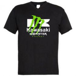 Мужская футболка  с V-образным вырезом Kawasaki Monster Energy - FatLine