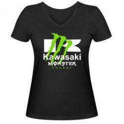 Женская футболка с V-образным вырезом Kawasaki Monster Energy - FatLine