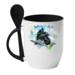 Кружка с керамической ложкой Kawasaki Ninja Art