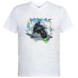 Мужская футболка  с V-образным вырезом Kawasaki Ninja Art