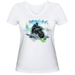 Женская футболка с V-образным вырезом Kawasaki Ninja Art