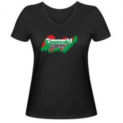 Женская футболка с V-образным вырезом Kawasaki Racing