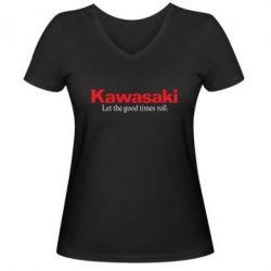 Женская футболка с V-образным вырезом Kawasaki. Let the good times roll. - FatLine